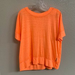 Reebok Athletic Shirt Large Orange Sheer